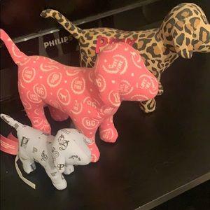 Pink plush dogs